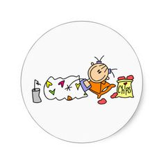 Slumber Party Joy Round Stickers