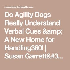 Do Agility Dogs Really Understand Verbal Cues & A New Home for Handling360! | Susan Garrett's Dog Training Blog