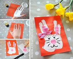 handprint for easter bunny Holiday Crafts For Kids, Easter Crafts For Kids, Diy For Kids, Easter Activities, Preschool Crafts, Diy Ostern, Spring Crafts, Easter Bunny, Type 1