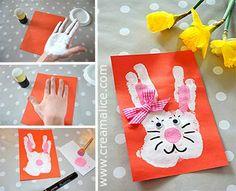 ❀ ✄ DIY Carte Lapin Pâques Empreinte Main / DIY Easter Bunny Handprint Card ✄ ❀ /www.creamalice.com