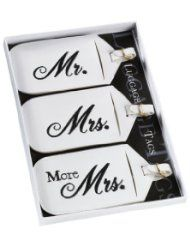 7ebe7e01f2 These 3 white leatherette luggage tags offer a fun way to identify your  luggage for the honeymoon. Each measures x Black embroidery is used to  identify the ...
