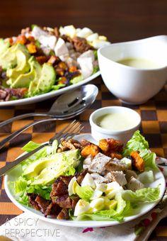 Harvest Cobb Salad with Creamy Corn & Poblano Dressing   ASpicyPerspective.com #salad #dinner #kitchenaid
