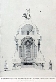 Architectural Drawings, Models, Photos, etc... — archimaps:   Section of Rosborg's projected...