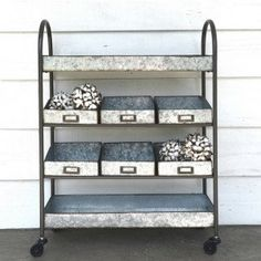 Metal 4 Tier Cart With 6 Bins On Casters