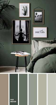 Paint Colors For Home, House Colors, Green Paint Colors, Wall Colours, Home Wall Colour, Modern Paint Colors, Earth Tone Bedroom, Small Bedroom Inspiration, Earth Tone Colors