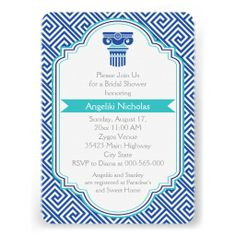 Greek key pattern and blue, aqua column Grecian wedding bridal shower invitation featuring a frame with blue and aqua outline, a border of Greek key or Meander or Greek fret pattern in blue and white, a turquoise banner and a blue, aqua Greek column. Text in grey. This elegant, modern design with vintage and ancient elements is perfect for a Greek and/or Grecian wedding theme regardless where it takes place in Greece or elsewhere. #timelesstreasure