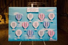 Hot air balloon inspired wedding table plan.. Photographed by http://fayecornhillphotography.com/