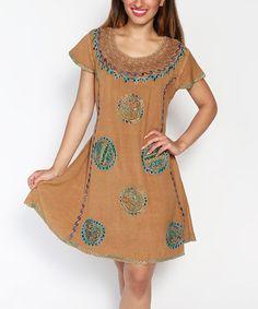 Look what I found on #zulily! Brown Medallion Embroidered Cap-Sleeve Dress - Plus #zulilyfinds
