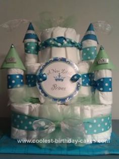 Homemade Diaper Castle Cake: I made this diaper castle cake for my best friend's baby shower, she is the girliest girl ever and was having a boy, so I decided to do a prince theme