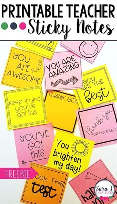 Printable Teacher Sticky Notes Check out these CUTE printable sticky note templates designed just for teachers. Great idea for motivating . The Words, Classroom Organization, Classroom Management, Desk Organization, Teacher Morale, Staff Morale, Teacher Notes, Student Gifts, Mentor Teacher Gifts Student Teaching