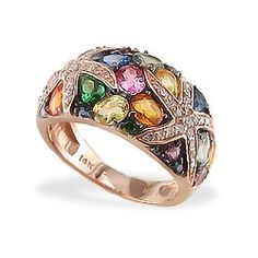 Rose Gold Starfish Ring with Multi-Color Sapphires and Diamonds - I am usually not a fan of rose gold but it's lovely with all the colored stones.
