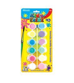 BAZIC 12 Color 6ml Kid's Paint w/ Brush  (24/Box) (144/Case)
