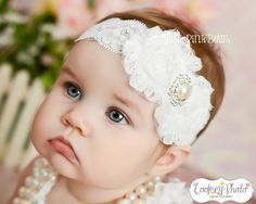 White baby Headband, shabby chic headband, christening headband, girl headband, baby bows.. $9.95, via Etsy.