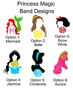 What a great way to dress up your magic band than with one of our decals. Choose from the Little Mermaid with one initial, Belle Monogram, Snow White monogram, Jasmine monogram, Cinderella monogram, or Aurora monogram. The Little Mermaid decal will only be prepared with one initial. For 3 initial monograms please list initials in this order first, LAST, middle in the notes to seller section. The last initial goes in the middle since it is larger and gives more emphasis on the last initial…