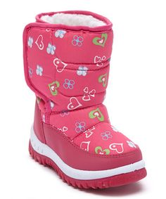 Another great find on #zulily! Fuchsia Heart Snow Boot by Adorababy #zulilyfinds