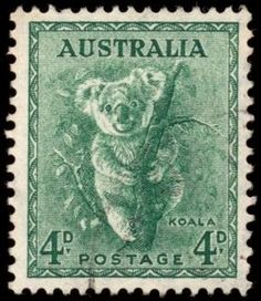 High resolution scan of a vintage stamp from Australia. This one in particular features a koala, and to the best of my knowledge it was issued around the year - Commercial License - No Attribution Required Old Stamps, Rare Stamps, Vintage Stamps, Vintage Labels, Stamp Values, Reptiles, Postage Stamp Art, Going Postal, Pop Culture Art