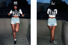 Love Hate Crop Tops matched with our LH wooly hats