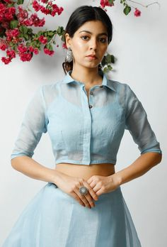 Buy The Ravishing Sky Blue Cotton Blouse Online – Tops 2020 Fancy Blouse Designs, Designs For Dresses, Blouse Neck Designs, Crop Top Designs, Blouse Patterns, Indian Fashion Dresses, Indian Designer Outfits, Kurti Designs Party Wear, Lehenga Designs
