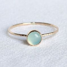 SOLID 14k Gold Aqua Chalcedony Ring - Simple and Tiny SOLID Gold Dainty Stack Ring with Hammered Band - Delicate Jewelry