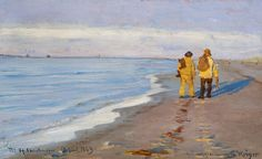 P.S. Krøyer (1851-1909): Evening atmosphere with two fishermen at Skagen Beach, 1883
