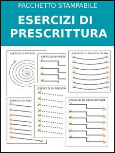 Pacchetto Stampabile: Esercizi di prescrittura Preschool Worksheets, Wood Toys, Art School, Montessori, Bullet Journal, Coding, Teaching, Activities, Education