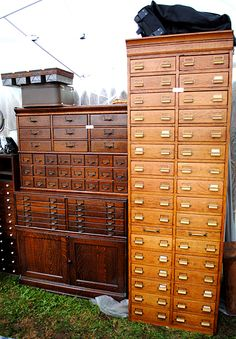 Industrial Card Catalogs Apothecary cabinets
