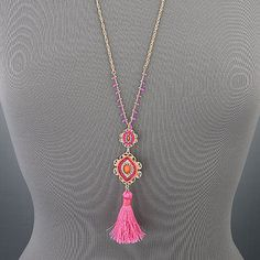Gold-Long-Chain-Bohemian-Style-Fushia-Coral-Seed-Bead-Tassel-Pendant-Necklace