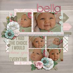 Baby scrapbook page layout-little busy but i like the layout