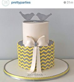 could do 2 elephants on top and the name plaque around the second tier. love the yellow over gray combo Beautiful Cakes, Amazing Cakes, Fondant Cakes, Cupcake Cakes, Chevron Cakes, Pastel Cupcakes, Bird Cakes, Themed Wedding Cakes, Gray Chevron