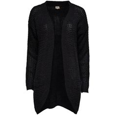 ONLY Loose Knitted Cardigan ($27) ❤ liked on Polyvore featuring tops, cardigans, jackets, sweaters, outerwear, casacos, black, long ribbed cardigan, long black cardigan and black loose top