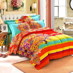 Red Yellow and Light Turquoise Colorful Exotic Bohemian Style Western Paisley Unique 100% Brushed Cotton Full, Queen Size Bedding Sets - EnjoyBedding.com