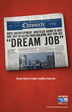 United Way For Southeastern Michigan: Whistle, Dream Job, Cap And Gown, Remote, No Bad News Inbound Marketing, Social Media Marketing, Kinds Of Reading, United Way, Early Education, Whittling, Bad News, Dream Job, Print Ads