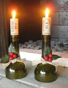 Christmas wine bottle candle holders