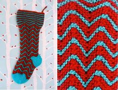 KNIT: free zig-zag stocking pattern. love the stripes & use of non-trad colors!