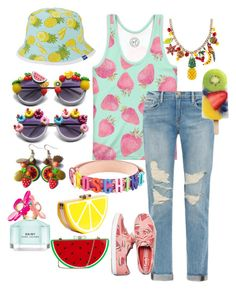 """""""Fruit Salad Fashion"""" by bee4735 ❤ liked on Polyvore featuring Keds, Frame Denim, Rare London, Moschino, Betsey Johnson, Marc Jacobs, women's clothing, women, female and woman"""