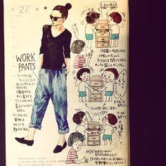 「男子やのぅ、の8月27日の日記。#ほぼ日 #techo2014 #ほぼ日umu #絵日記 #コーディネート #fashion #workpants #ほぼ日手帳 #style #ワークパンツ #ワークウェア #制服」