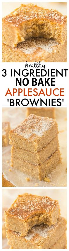 Healthy No Bake Applesauce Brownies with just THREE ingredients- So delicious, quick, low in fat and easy, it will be your go-to snack or treat recipe! {vegan, gluten-free, paleo}