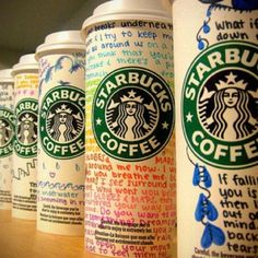 Ask Starbucks for differant sized cups, decorate, and use as pencil holders or for other nicknacks on your desk. super cute.!