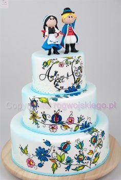 Folk wedding cake / tort weselny z motywem kaszubskim - Cake by Edyta rogwojskiego.pl