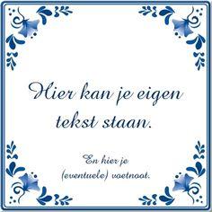 Delfts Blauw Tegeltje met eigen tekst of spreuk