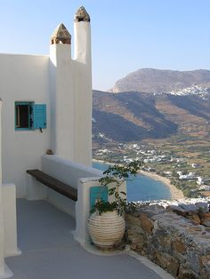 View of Aegiali bay in Amorgos, Cyclades, Greece