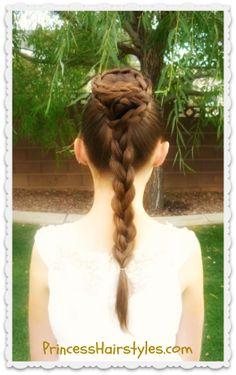 Princess Leia Spiral Braid Bun Updo Hairstyle Tutorial #starwars