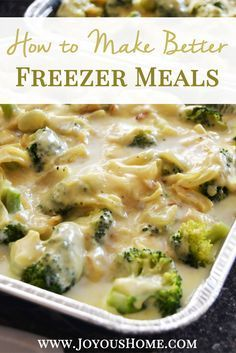 Tired of a freezer full of yucky freezer meals? Use freezer cooking in a whole new way! PLUS a super yummy recipe for Cheddar Chicken and Broccoli with an easy from-scratch cream sauce!