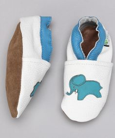 Augusta Baby White & Blue Elephant Booties by Augusta Baby #zulily #zulilyfinds