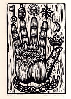 The+Philosopher's+Hand+Woodcut++Art+Print+by+HorseAndHare+on+Etsy,+$20.00
