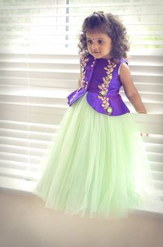 Green net frock with purple embroidered peplum Girls Frock Design, Kids Frocks Design, Baby Frocks Designs, Baby Dress Design, Kids Lehanga Design, Baby Girl Frocks, Baby Girl Party Dresses, Frocks For Girls, Dresses Kids Girl