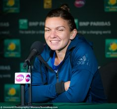 Simona Halep answering journalists' questions after her Quarterfinals loss against Serena Williams at the BNP Paribas Open - March 16, 2016