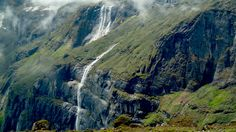 """A series of waterfalls ridiculously dwarfed by the surrounding rock Makalu Region Nepal [OC] [1280  721]"