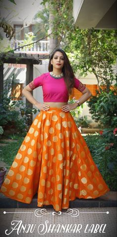 Prepping up for the upcoming wedding season !! Beautiful orange color benaras lehenga and pink color crop top.Contact for orders !! WhatsApp - +91 99521 84728 Mail - anjushankar.queries@gmail.com