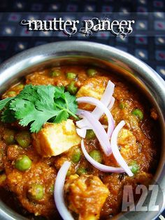 Mutter Paneer, peas and Indian cottage cheese cooked with spices and a tomato base..
